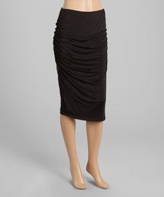 Another great find on #zulily! Black Ruched Pencil Skirt #zulilyfinds
