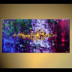 "48"" x 24"" Original City Acrylic Painting Modern Palette Knife Textured Abstract Painting Virtual Light  from Osnat Tzadok - MADE-TO-ORDER on Etsy, $480.00"