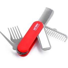 EMERGENCY PURSE PAL COMB + MIRROR TOOL  army comb & mirror