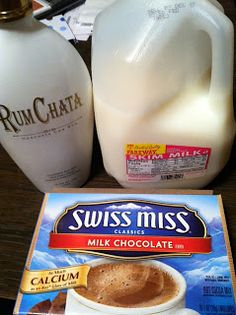 1 packet hot chocolate, mix ¾ cup of milk, 1 shot Rumchata....Add milk to mug and microwave until desired temperature. Stir in hot chocolate mix and 1m shot of Rumchata. Sit down, throw your feet up and enjoy.