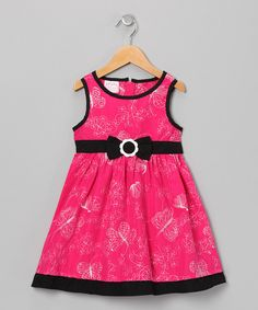 Take a look at this Pink & Black Butterfly A-Line Dress - Infant, Toddler & Girls on zulily today!