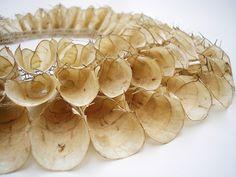 Necklace | Grace de Berker, 2010. 'Honesty' detail.  Seed Pods, Silver thread.