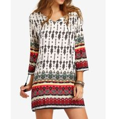 """🆕 Boho Style Print Mini Dress 🆕Boho style print shift dress.  Lightweight woven fabric.  Featuring tassels on split neckline. Multi-colored.  3/4 Sleeves.  Sizing:  Small: Bust 38"""" Length:  33"""". Medium: Bust 39.37"""" Length: 34"""". **NEW in package** Boutique Dresses Mini"""