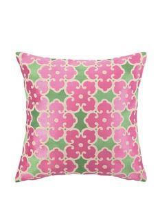 Brejer Acadia Embellished Down Pillow, Pink/Green, 14