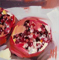 Pomegranate no. 12 original still life fruit oil by Angela Moulton prattcreekart
