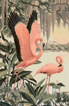 This chart uses 48 DMC colors and the finished size is 130 x 200 stitches, which is approximately - Needlepoint Patterns, Counted Cross Stitch Patterns, Cross Stitch Designs, Cross Stitch Embroidery, Cross Stitch Sea, Cross Stitch Kitchen, Flamingo Craft, Diy Doll Miniatures, Paper Tags