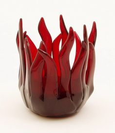 """This is the third fused glass vase like this one I made for a lady. The """"flames"""" or fingers are very delicate and two of the flames broke off the first fused glass vase before I even m… Murano Glass Vase, Fused Glass Art, Mosaic Glass, Stained Glass, Red Vases, Cranberry Glass, Glass Candle Holders, Votive Holder, Glass Votive"""