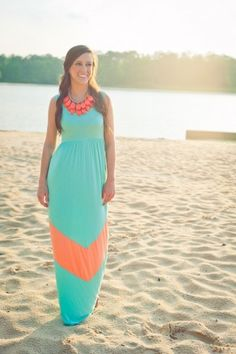 Maxi dress ~ Turquoise & Coral