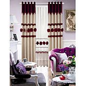 Country Style Floral Lined Faux Silk Curtain ...