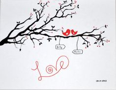 Love Quote Canvas  Birds On Tree Painting  Love by DreamAndCraft