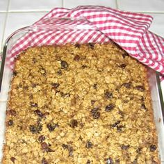 Baked Oatmeal II Allrecipes.com- Absolutely delish, filling, hearty & healthy breakfast on the go. Cut the sugar way down and use whatever dried fruits and nuts you have on hand. We ate this for almost a week!