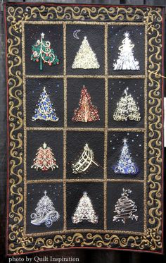 "Lynn says: ""I love the elegance and drama of these trees on black. Sparkle and glitz make my first embroidered/pieced quilt even more eye-catching."""