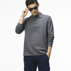 Lacoste - classic fit long-sleeve polo in marl petit piqué Stone Chine