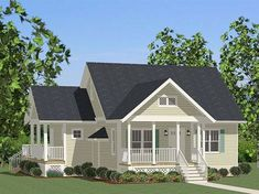 067H-0046: Two-Bedroom Cottage Home Plan Cottage Style House Plans, Cottage Style Homes, Ranch House Plans, Cottage House Plans, Cottage Design, 2 Bedroom House Design, 2 Bedroom House Plans, Bungalow House Plans, Small House Floor Plans