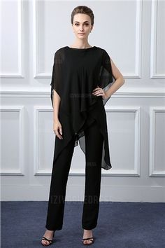 Chiffon Pant Suits Jewel Ankle-length Mother of the Bride Dress with Sleeve Wedding Guest Suits, Wedding Party Dresses, Bride Dresses, Prom Dresses, Mother Of Bride Outfits, Mother Of The Bride, Bridal Dresses Online, Dress Online, Pantalon Costume