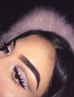 baby pink eye glitter cut crease wing colourful makeup glitter makeup - Prom Makeup For Brown Eyes Glam Makeup, Cute Makeup, Gorgeous Makeup, Pretty Makeup, Skin Makeup, Makeup Inspo, Eyeshadow Makeup, Makeup Inspiration, Beauty Makeup