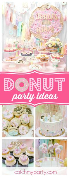 You don't want to miss this fabulous Donut themed birthday party! The colorful pastel backdrop is amazing!! See more party ideas and share yours at CatchMyParty.com