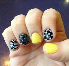Black and yellow nail art gel manicure
