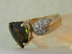 Custom Design Bi Color Green Gold Heart Tourmaline Pave Diamond Ring...One of a Kind!