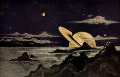 Aus fernen Welten (Astronomy for All) - Bruno Hans Bürgel - 1920 - via Internet Archive Kunst Inspo, Art Inspo, Art And Illustration, Antique Illustration, Fantasy Kunst, Fantasy Art, Sistema Solar, Aesthetic Pictures, Art Drawings