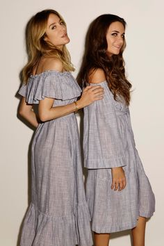The Mira Button Down Dress and Off Shoulder patchwork dress on Beautiful Aurelie Bidermann and Laure Dubreuil