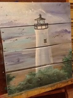 Light house on pallet wood Pallet Painting, Painting On Pallet Wood, Tole Painting, Painted Pallet Art, Coastal Art, Pictures To Paint, Pallet Pictures, Painted Boards, Art On Wood