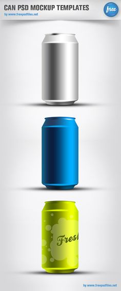 These are great product mockups for soda cans created on Photoshop. The light source appears to be hitting the cans from the right side of the image. This is where the majority of the highlighting is, while the shadows are primarily on the left side. Graphic Design Tools, Tool Design, Photoshop Design, Photoshop Tutorial, Mockup Templates, Templates Free, Branding, Photoshop Illustrator, Creative Design