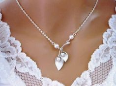 CALLA LILY NECKLACE Pearl Sterling Silver Wedding Bridal Bridesmaid | Vivian-Feiler-Designs - Wedding on ArtFire