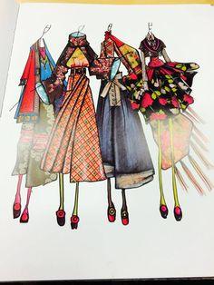KENZO / Antonio Marras illustration Fashion Design Books, Fashion Design Portfolio, Fashion Design Drawings, Fashion Art, Illustration Mode, Fashion Illustration Sketches, Fashion Sketchbook, Fashion Sketches, Japanese Trends