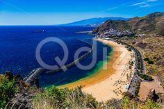 Qdiz Stock Photos | Aerial view to Las Teresitas Beach Tenerife island,  #aerial #Atlantic #beach #blue #breakwater #Canary #coast #coastline #Cruz #island #landscape #LasTeresitas #mountain #nature #ocean #playa #Santa #sea #shore #sky #Spain #summer #Tenerife #view #water #yellow