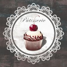 Great Big Canvas 'Patisserie Mini by David Fischer Vintage Advertisement Format: White Frame, Size: H x W x D Cupcake Torte, Rose Cupcake, Cupcake Toppers, Collages D'images, Cupcake Pictures, Cupcake Pics, Illustrations Vintage, Decoration Patisserie, Etiquette Vintage