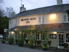 The Drunken Duck Inn, Ambleside A inn peering out over Lake Windermere. Ale, tea and fish and chips.wouldn't that be fun! Uk Pub, British Pub, British Isles, Places In England, Pub Signs, Pub Crawl, Windermere, England And Scotland, English Countryside