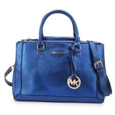 Michael Kors Logo Metallic Large Blue Satchels
