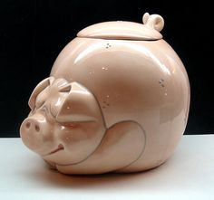 GLAZED CERAMIC PIGGY COOKIE JAR