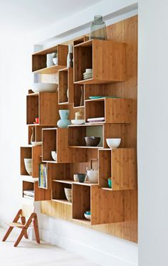 Freestanding timber bookshelf