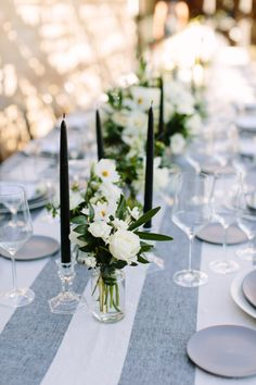 A beautiful gray tablescape: http://www.stylemepretty.com/living/2015/11/02/a-modern-fall-dinner-party-with-an-unexpected-color-palette/ | Photography: Megan Clouse - http://www.meganclouse.com/