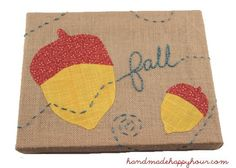 burlap canvas fall wall art mod podge embroidery