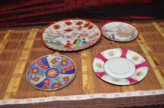 Assorted 4 Asian Porcelain Plates 3 Saucer 1 Bread Geisha Imari Design