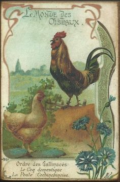 Wood Magnet  Chickens Rooster  Vintage Style by MyFathersHouse4, $4.00