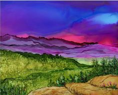 Alcohol Ink Print - Lake Placid Area - Adirondacks- NY - Landscape- 5x7 or 8x10- Purple pink sunset- Wall Art