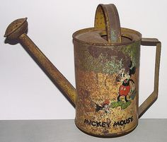 """Original """"Mickey Mouse"""" 2-Sided Watering Can, marked Ohio Art Co. Bryan,O."""