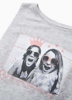 T-shirt estampada purpurina - Crianças | MANGO