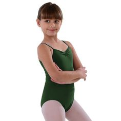 This leotard by So Danca will inspire artistic performance in your little girl. Microfiber camisole leotard with pinched neckline and medium scoop back. Front is fully lined. Comes in your choice of black, burgundy, celestial blue, eggplant, light pink, m