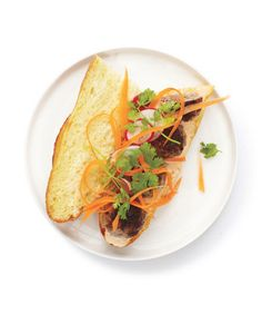 Meatball Banh Mi: Shredded carrot, sliced radishes, and cilantro add a crisp, fresh crunch to this spicy sandwich.
