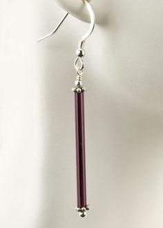 Purple-Stick-Glass-Earrings-Bali-Sterling-Silver-Fashion-Dangle-iDu-Jewelry
