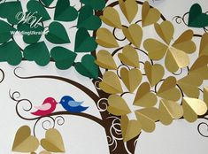 Personalized Gold & Green Wedding Love Tree by WeddingUkraine