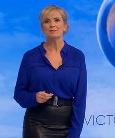 Carol Kirkwood in Leather. Carol Kirkwood, Female News Anchors, Carol Vorderman, Tv Presenters, Her Style, Work Wear, Leather Skirt, Tights, Black Leather