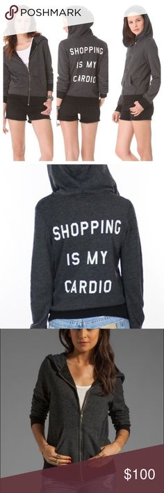 Wildfox shopping is my cardio Size medium. This hoodie is made from distressed fabric with intentional piling. There is a small white mark on the right elbow. See photos. Wildfox Jackets & Coats