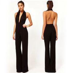 Cheap Jumpsuits, Buy Directly from China Suppliers:Summer Women Jumpsuit Tank Sleeveless Overall Ladies' Casual Jumpsuits Black Rompers Halter Neck Backless Top Plus Size Backless Top, Backless Jumpsuit, Black Jumpsuit, Floral Jumpsuit, One Piece Pant Suit, Halter Maxi Dresses, Frack, European Fashion, European Style