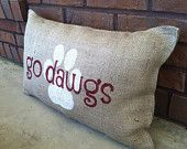 mississippi state burlap pillow
